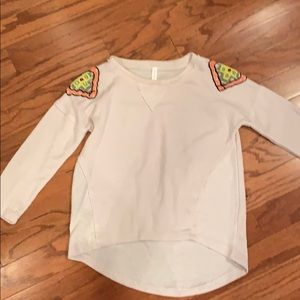 Sweater with embellished beaded shoulders